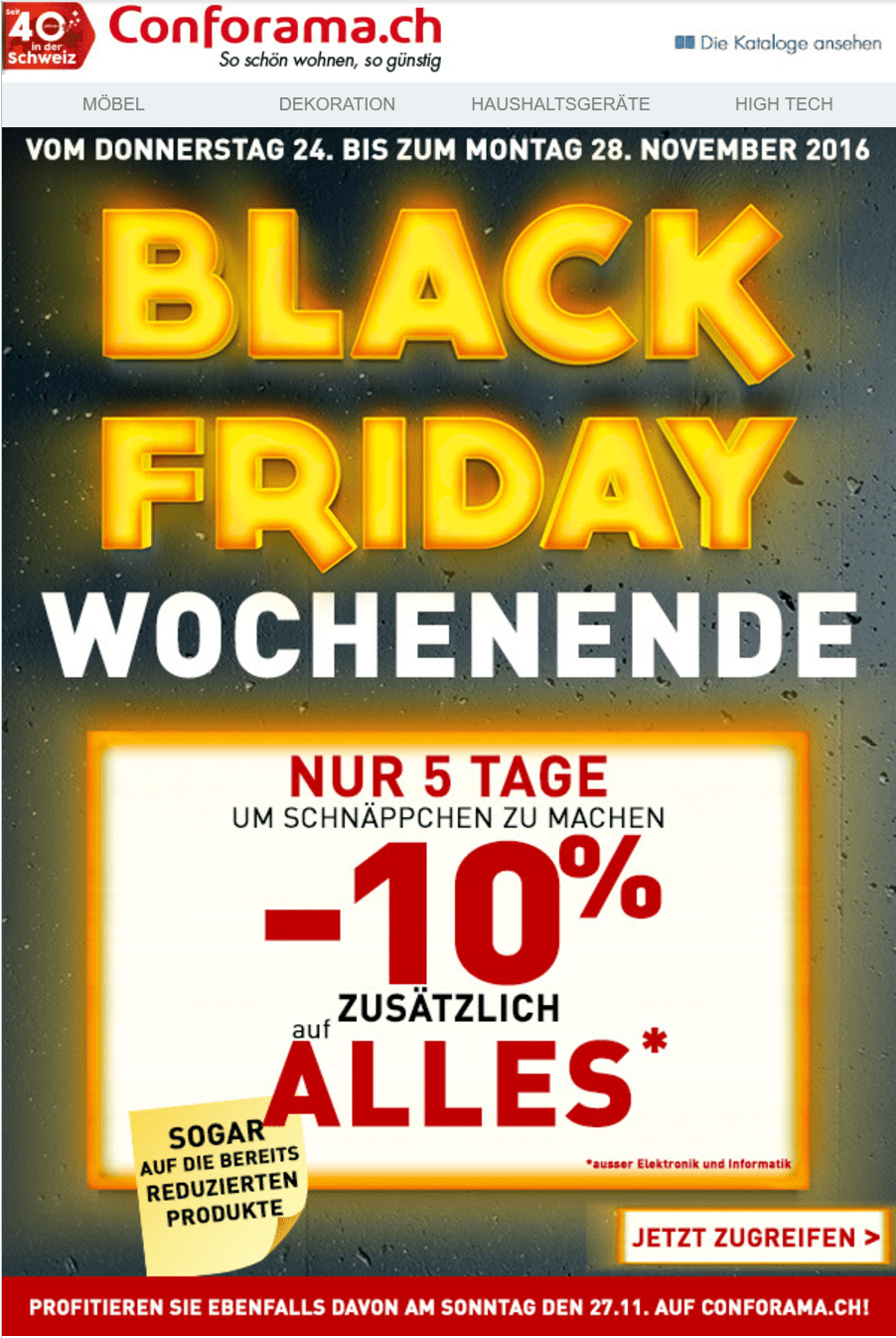 Alle deals von conforama zum cyber monday black friday for Conforama black friday