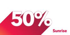 50% rabais sur Sunrise swiss unlimited
