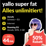 yallo super fat Vertrag günstiger + gratis Smartphone